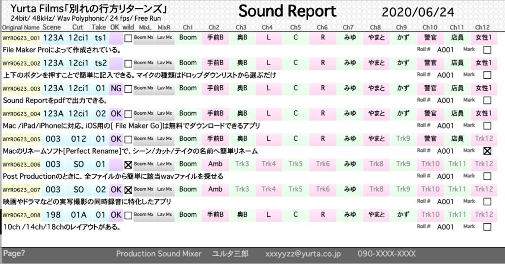 サウンドレポート画面